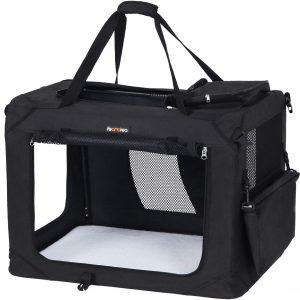 FEANDREA Hundebox Transportbox Auto Hundetransportbox faltbar Katzenbox Oxford Gewebe