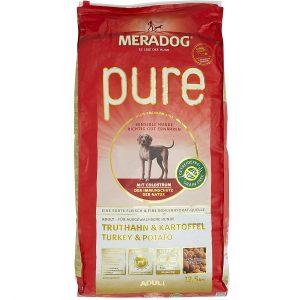 MERADOG PURE Adult Trockenfutter I Hundefutter ohne Getreide und glutenhaltige Zutaten für sensible Hunde mit Truthahn und Kartoffeln I 12,5 Kg