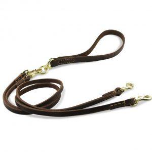 Tineer Double Dog Leder-Leine-Blei mit abnehmbarem Handgriff